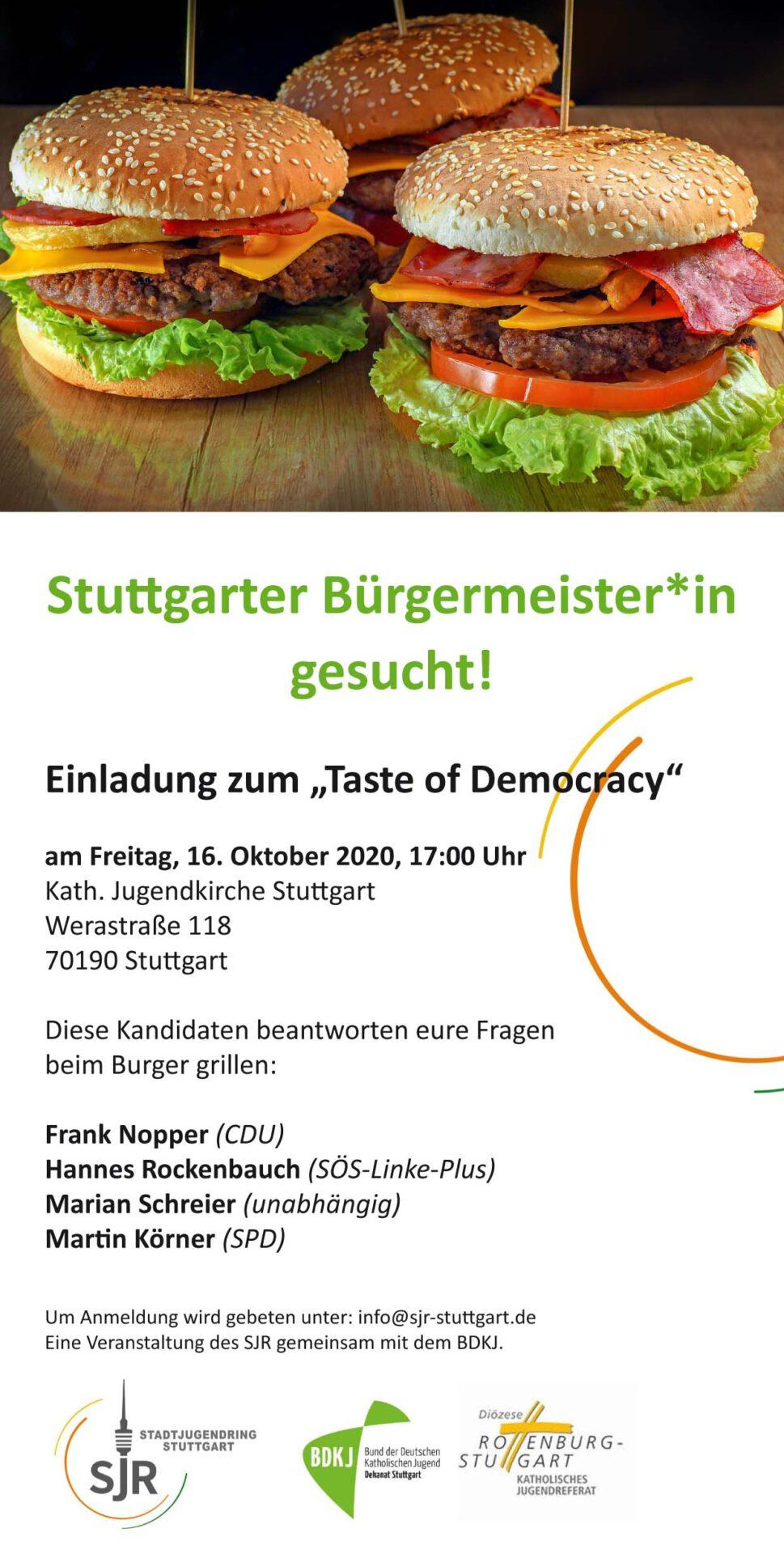 Taste of Democracy – Stuttgart sucht die Burgermeister*innen